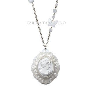 WHITE CAMEO LONG NECKLACE